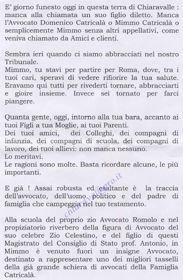 Necrologio in morte dell' Avvocato Domenico 1